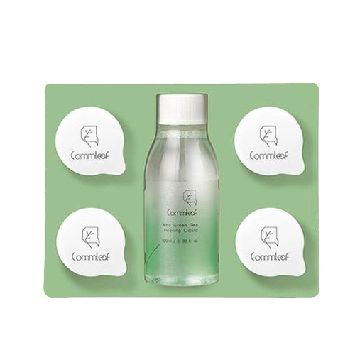 Commleaf AHA Green tea Peeling Liquid Set (with 4 coin mask sheet)