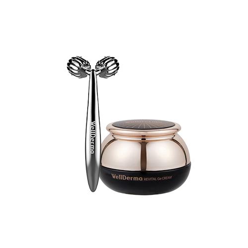 WellDerma Revital GE Cream + WellDerma Face Lifting Roller Dark Silver