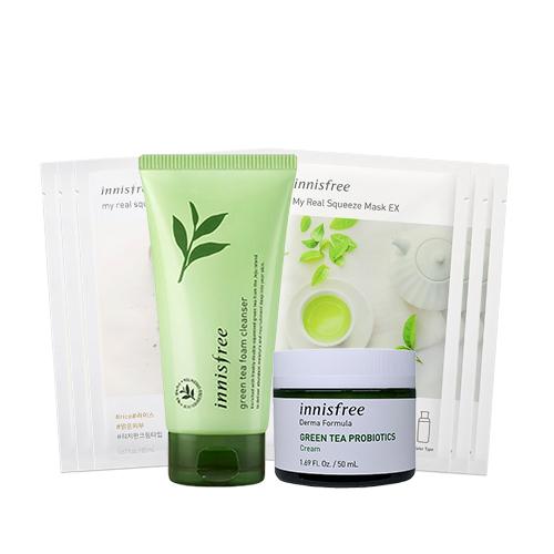 innisfree Green Tea Foam Cleanser & Probiotics Cream Set